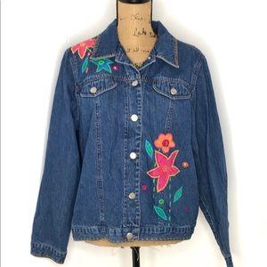 Susan Bristol Denim Jacket-Appliquéd-Vintage-XL